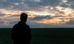 Looking at the future (Romain Roellet) Tags: selfie self portrait selfportrait sunrise golden hour clouds light sun man model portraits silhouette