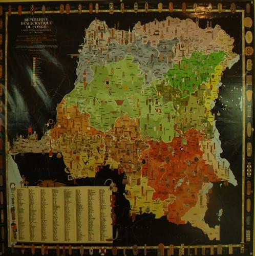 Mapa de las tribus del Congo; museo Nacional.   Kinshasa. RD Congo