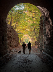 Autumn Tunnel (Heath Cajandig) Tags: missouri katy trail rocheport tunnel fall october leaves together ahead state park