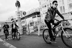 Trio of Cyclists (James Hodgson Photography) Tags: black white street photography life cycle fuji x100s pryzm west seafront brighton promenade