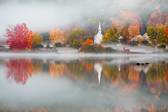 Eaton, NH (Robert Clifford) Tags: crystallake eaton littlewhitechapel newhampshire atmosphere autumn chapel color fall fog foliage lake land mist nh reflection robcliffordphotography robertclifford robertallancliffordcom scenic trees view village water weather