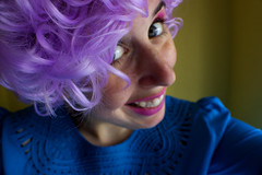 Purple Rinse (Esme on Plum Island) Tags: purplewig silly sillyface me 365days day42 wig curlywig were here