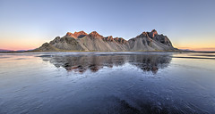 Fire and Ice at Vestrahorn (Nick L) Tags: vestrahorn vesturhorn stokksnes stokkness iceland icelandic southerniceland southeasticeland reflection landscape dawn sunrise ice frozen frozenlake canon eos 5d 5d3 1124l wow canonef1124f4l