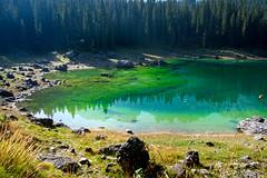 Lago Di Carezza (jimj0will) Tags: lagodicarezza lake carezza dolomites italy italia green water reflected reflections trees mountains landscape