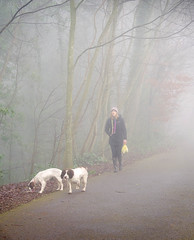 Foggy Morning Walk (Carolbreeze99) Tags: bristol fog mist atmosphere dog walk people candid street soft autumn fall downs cold winter calm relaxation trees woods footpath rural wellies
