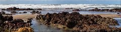West Country Rocks (Boba Fett3) Tags: sea ocean water waves sand beach coast coastline rocks rockpool seaweed cornwall kernow westcountry bude widemouth panoramic photostitch photoborder canon100d