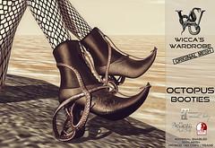 Wicca's Wardrobe @ GENRE October 2016 (Wicca Merlin / Wicca's Wardrobe) Tags: wiccaswardrobe wiccamerlin lovecraftinspired octopus tentacles ankleboots booties slfashion footwear sharptoes slshoes maitreya slink belleza steampunk secondlife