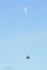 Angel and the Moon - Fleet Week 2016 - San Francisco (Lisa Simpson Photography) Tags: 2016 airplane airshow autumn bayarea blueangels california digitalwonderlandphotography fa18hornet fall fleetweek jet lisasimpsonphotography military moon navy october presidio sanfrancisco usa