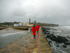 Looking back to St Andrews from its pier, 2016 Oct 23 (Dunnock_D) Tags: uk unitedkingdom britain scotland fife standrews grey cloud cloudy sky student students red gown gowns university stregulushall regsians regsian pierwalk cathedral northsea sea waves pier