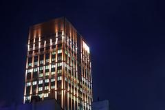 Lodz Golden Tower (Aardvarklord) Tags: lodz poland building office high lights exterior night dark longexposure canon5014