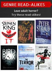 Read-Alikes for Adult Horror 10/26/16 (plano.library) Tags: read readalikes books horror planopubliclibrarysystem plano ppls haggard harrington davis parr schimelpfenig library libraries tx