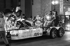 The Stationary Harley-Gang (LostOne1000) Tags: cedarrapids fireandice cold unitedstates city christmaslights blackwhite iowa parade night motorcylces downtown us holidaydelightparade