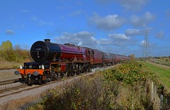 Stanier Locomotive 6201 'Princess Elizabeth' at Attenborough, whilst passing between Nottingham & Derby, on the Chesireman Charter, from Norwich - Chester. 05 11 2016 (pnb511) Tags: train steam loco locomotive sky clouds track eastmidlands cathedral tours charter lizzie princessroyal