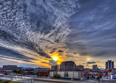 Roanoke Veterans Day Sunset (Terry Aldhizer) Tags: roanoke veterans day sun sundog sunset clouds buildings rainbow arc optic mountains banks hospital highway terry aldhizer wwwterryaldhizercom