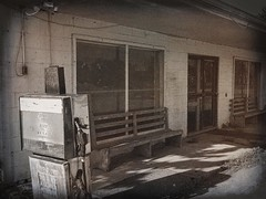 Social Media (TuthFaree) Tags: elements rural country store gaspump abandoned forgotten community bench wooden block hbm benchmonday 7dwf
