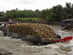 Another coconut boat (program monkey) Tags: vietnam mekong river delta cargo boat ben tre tra vinh loaded coconuts wake