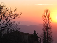 Winter sunset from Mt. Pelion. (alekathom) Tags: mtpelion volos greece mountain trees sun nature portaria
