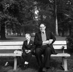 Germany 1962 Shelagh Rose + Alf Jefferies Hans Jurgen Saalfelt Ingaborg Dick (Photos by Alf Jefferies) Tags: woolfgang ingaborg hans jurgen saalfelt dick germans germany 1962 baby family vintage shelagh sheila alf jefferies b7w negatives original scanned fresh unseen images pics faces past pram man woman park bench trees