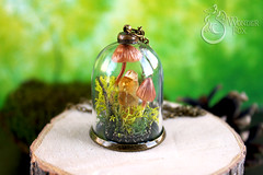 Mushrooms Necklace (Wonder Fox Jewelry) Tags: autumn green nature mushroom glass forest woodland mushrooms idea necklace moss handmade craft jewelry fantasy gift dome lichen etsy finds pendant musthave naturelovers neckalce glassjewelry etsyshop    miniterrarium  terrariumnecklace mossnecklace summe