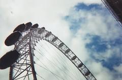 (nicolebellini) Tags: city travel blue summer sky london film beautiful clouds 35mm happy town londoneye adventure summertime blueskies disposables
