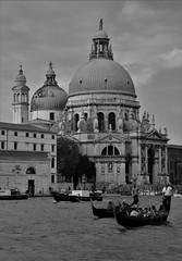Venice - Santa Maria della Salute (phil_king) Tags: santa venice blackandwhite italy white black church water monochrome boats canal grande italia maria salute grand dome gondola della venezia gondolas