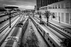 Passing Trains (Kamil R) Tags: blackandwhite bw chicago monochrome loop trains rails d750 theloop blacknwhite soldierfield