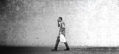 Despair (Paul K.-QuixoteImages) Tags: bw loneliness pedestrian despair conceptual troubles emptiness lostinthought adifferentpointofview walkingintothedarkness
