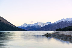 Frosty Mavora Morning ll (fate atc) Tags: newzealand lake snow mountains colour water dawn still frost earlymorning frosty nz southisland tussock chill southland highcountry alpineforest northmavoralake sonya99
