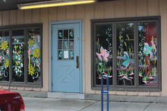 Festive Windows (lefeber) Tags: door city flowers windows urban fish newyork art shop architecture store painted beacon decorated hudsonvalley