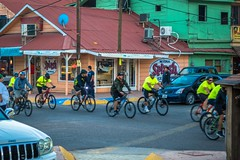 A cycling group parading around Santa Rosalia.