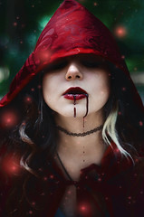 #‎ProjectNeverland: ‪#‎RedRidingHood‬ (TheJennire) Tags: light red portrait people cinema film luz girl fashion fairytale forest self dark hair cores movie photography book photo blood woods colours foto magic dream young makeup style colores littleredridinghood fantasy ethereal hood dreamy fotografia curlyhair redridinghood cabelo pelo cabello fireflies conceptualphotography tumblr projectneverland