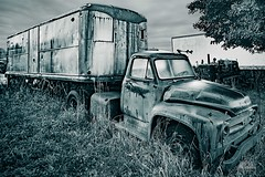 Long Haul Trucking (Richard Adams Photography) Tags: auto wreckers rust monochrome blackandwhite ontario scrap metal truck transportation daylight autumn