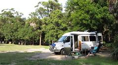 Relaxing at Camp Treachery NSW (spelio) Tags: treachery camp nsw campsite sprintervan camper senior relax chair sand bush
