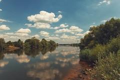 Am Main... (hobbit68) Tags: sky wolken clouds himmel frankfurt sommer outdoor sonne old canon main industrie wasser brcken gebude sonnenschein alt fluss ufer river