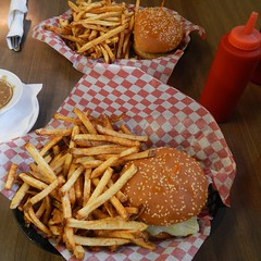 Life choice or treat? (Jeannette Greaves) Tags: 2016 burger fries gravy ketchup cmrdred whiteredwhite red greasy disappointed plp