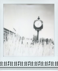 Meridian Clock Skateistan (Celina Innocent) Tags: impossible project instant film black white skateistan polaroidweek clock meridian idaho townhall
