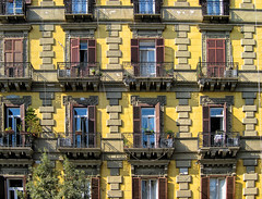 Windows HWW (Jenny Pics) Tags: windows shutters colours yellow blue ornate brickwork patterns naples italy hww architecture balconies