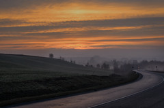 Misty sunrise (k.tusnio) Tags: mist fog sunrise hdr nikon poland widokowa polska landscape d5100 35mm road clouds sky
