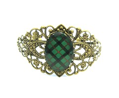 CUSTOM ORDER FOR KAREN Ancient Romance Series - Scottish Tartans Collection - Kincaid Clan Tartan Filigree 18x25mm Oval Split Cuff Bracelet