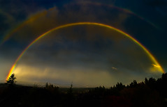 Double rainbow over Beaverton and Portland's west hills at sunset (GeorgeOfTheGorge) Tags: sunsetcorridor glow potofgold oregon westhills stormy quandary doublerainbow rainbowcolors question silhouette clouds beaverton unitedstates us autumn fall october storm roygbiv