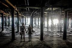 it's like something you dreamed earlier (Karol Franks) Tags: couple becca beach pier autumn santamonica ca california socal mood moment facing sun light ocean sand