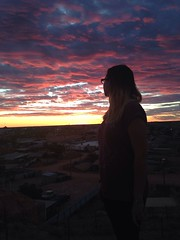 Chloe watching the sunset (chloesutton-stacey) Tags: australia travel blog downtherabbithole outback camping southaustralia lochiel rangesview landscape couple saltlake lakehart art sculpture installation sunset cooberpedy opalcapital views photography adventure backpacking oz travelling journey roadtrip