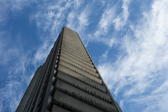 Barbican (Spannarama) Tags: barbican london uk tower towerblock lookingup blueskies clouds balconies