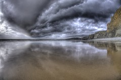 Thunder Road (pauldunn52) Tags: traeth mawr glamorgan heritage coast wales witches point clouds ominous rain reflections wet sand beach cliffs