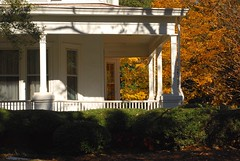 house ablaze (rootcrop54) Tags: south southern house porch autumn fall leaves reflection reflections uga healthsciencescampus november 2016 orange foliage