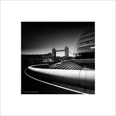 City Hall & Tower Bridge (Charlie Pragnell) Tags: fineartphotography blackandwhite londoncity wwwcharlespragnellphotographynet squareformat architecture olympusomd olympusuk towerbridge cityhall london