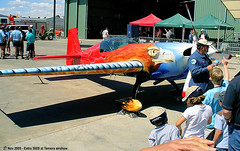 27 Nov 2005 - Tom Moon's Extra 300S aerobatic plane at the Aviation Museum airshow, Temora, NSW, Australia (aussiejeff) Tags: new museum wales plane airplane flying paint aircraft aviation south airshow nsw stunning scheme extra stunt aerobatic 300s temora tommoon