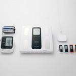 専用ウェブサイト対応健康機器(自動血圧計、体重体組成計、歩数計)の写真