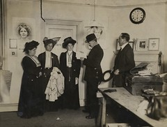 The arrest of Flora Drummond, Emmeline and Christabel Pankhurst, WSPU offices at Clement's Inn, 1908.