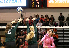 Birks gets it over (RPahre) Tags: msu michiganstateuniversity michiganstate universityofillinois illinois champaign huffhall huff volleyball block swing robertpahrephotography copyrighted donotusewithoutwrittenpermission